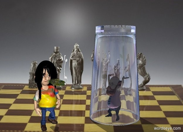 Input text: The image backdrop. the shadow plane. the glass is above the four inch tall professor. the glass is on the invisible ground. the professor is on the ground. the glass is upside down. the six inch tall boy is 4 inches in front of the professor. he is facing right.