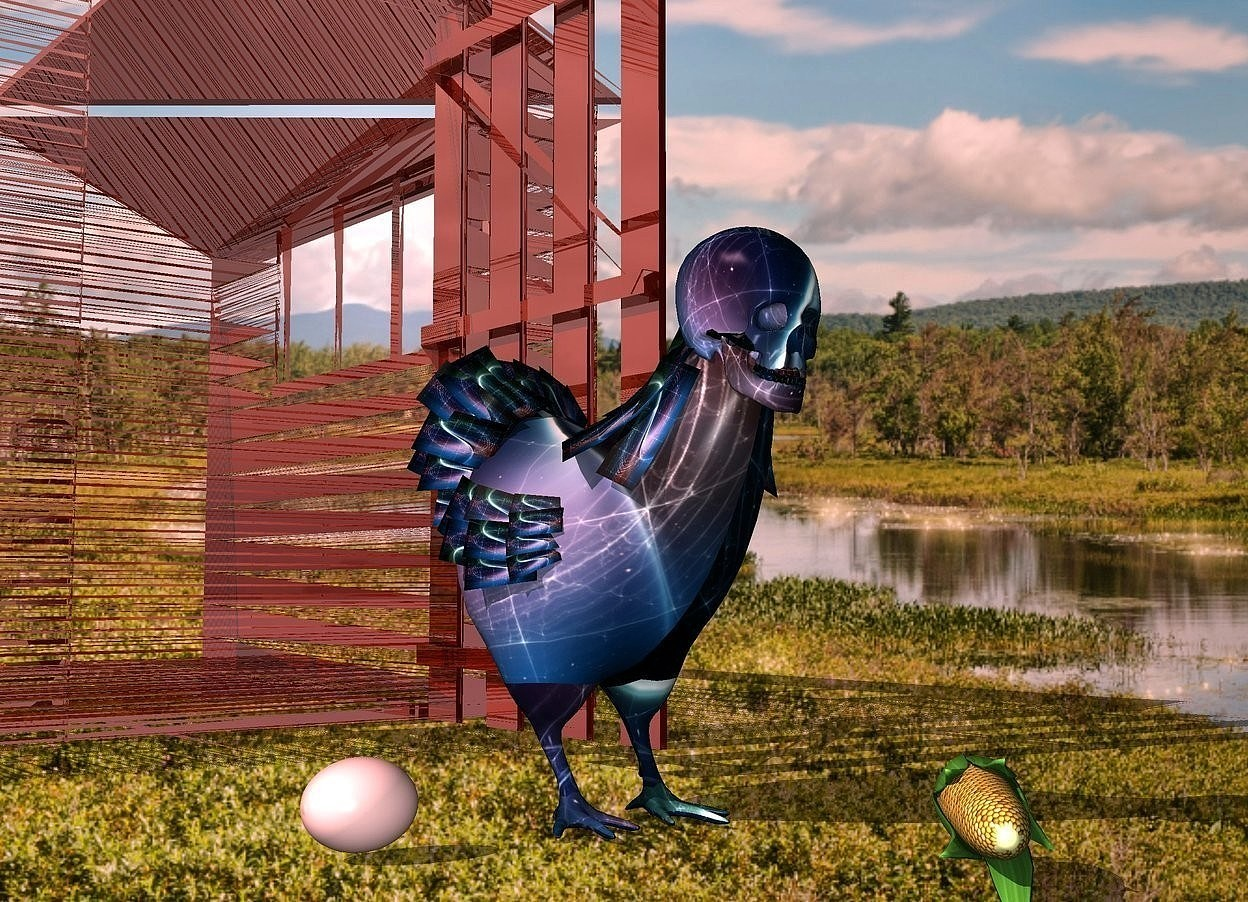 Input text: a [space] bird.a 6 inch tall [space] skull is -5 inches above the bird.it is -4.7 inches in front of the bird.a face up corn is 2 inches in front of the bird.it is facing northeast.a shiny shed is behind the bird.park backdrop.shadow plane.a pale egg is 3 inches left of the bird.wild rose sun.