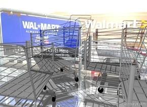a shiny [wal] wall. a 1st  large shopping cart faces northwest. it is -1 foot in front of the wall. a 2nd large shopping cart is -1 foot in front of the shopping cart. it faces back. ground is shiny. a 3rd large shopping cart is right of the 1st shopping cart. it faces left. a 4th large shopping cart is -1 foot in front of and -3 foot right of the 3rd shopping cart.
