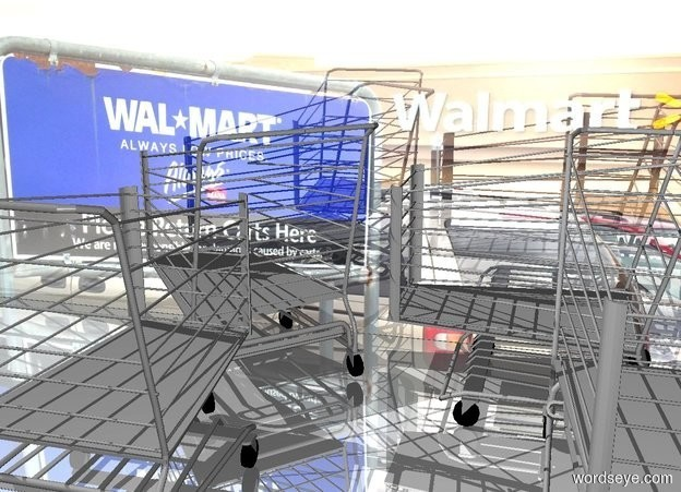 Input text: a shiny [wal] wall. a 1st  large shopping cart faces northwest. it is -1 foot in front of the wall. a 2nd large shopping cart is -1 foot in front of the shopping cart. it faces back. ground is shiny. a 3rd large shopping cart is right of the 1st shopping cart. it faces left. a 4th large shopping cart is -1 foot in front of and -3 foot right of the 3rd shopping cart.
