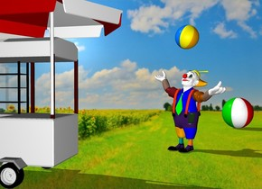 the field backdrop. the shadow plane.  a beach ball is 8 feet behind and right of the clown. it is facing back. a small beach ball is 1 foot above the clown. it is leaning left.  a  hotdog stand is 3 feet in front of the clown. it is -1 foot left of the clown. the clown is facing the stand.