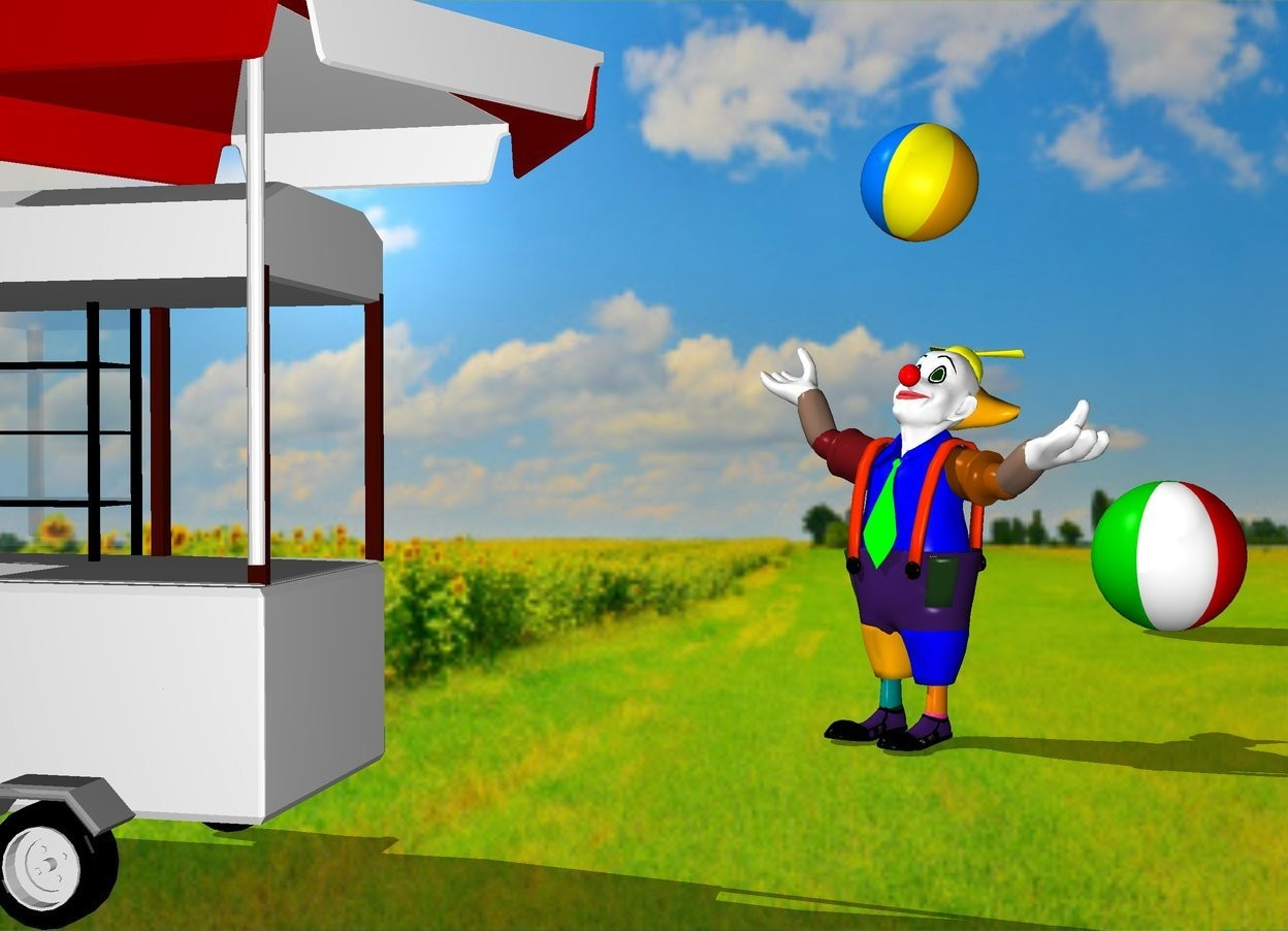 Input text: the field backdrop. the shadow plane.  a beach ball is 8 feet behind and right of the clown. it is facing back. a small beach ball is 1 foot above the clown. it is leaning left.  a  hotdog stand is 3 feet in front of the clown. it is -1 foot left of the clown. the clown is facing the stand.