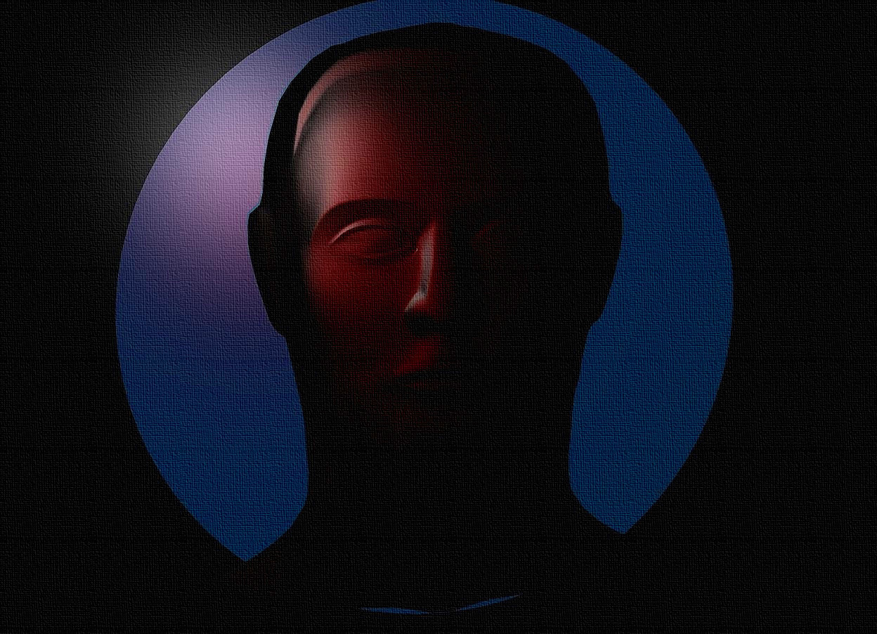 Input text: a black backdrop.a 1 inch tall and 20 inch wide petrol blue disk.the disk leans 90 degrees to the front.a 19 inch tall and 14 inch wide and 1 inch deep black head is in front of the disk.ambient light is gray.a maroon light is 150 inch in front of the head.