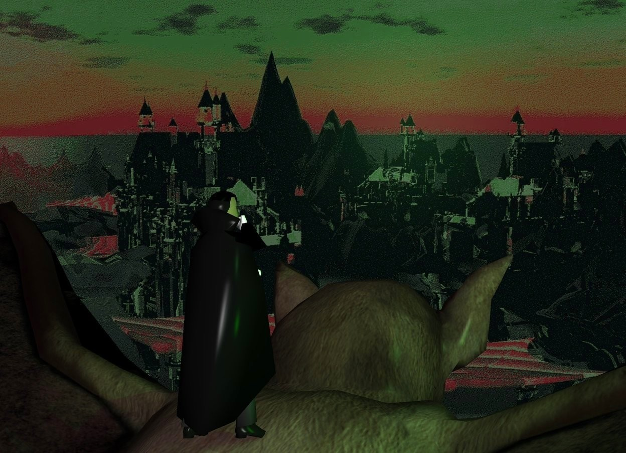 Input text: a humongous bat.a tiny man is -24 inches above the bat.castle backdrop.a green light is 1 feet left of the man.malachite green sun.