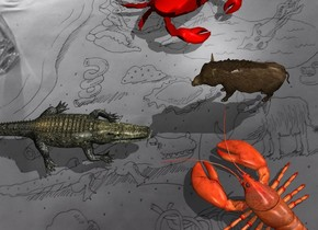 The [image-12465] backdrop. The lobster. The shadow plane. the very tiny pig is -2 inches to the left and -3 inches in front of the lobster. it is facing southeast. the extremely tiny crocodile is -4 inches to the right and in front of the lobster. it is facing northwest. the crab is 2 inches in front and -5 inches to the left of the pig. it is facing back.