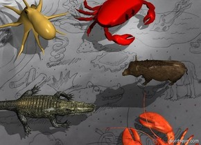 The [image-12465] backdrop. The lobster. The shadow plane. the very tiny pig is -2 inches to the left and -3 inches in front of the lobster. it is facing southeast. the extremely tiny crocodile is -4 inches to the right and in front of the lobster. it is facing northwest. the crab is 2 inches in front and -5 inches to the left of the pig. it is facing back.  The small octopus is -3 inches in front and -5 inches to the left of the crocodile.