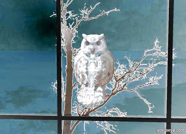 Input text: a [tree] backdrop. a 1st dull owl faces back. a 2nd dull owl is -3 foot in front of the 1st owl. a small window is 3 foot in front of and -1.6 foot beneath the owl. a sienna light is in front of and above the owl.