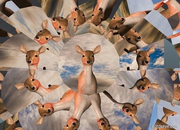 Input text: a face up 10 feet tall silver gear.space backdrop.a deer is behind the gear.a rust light is 1 feet left of the deer.