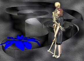 a [el] backdrop.a 100 inch tall skeleton. a 90 inch tall shiny  woman is -20 inch in front of the skeleton.the woman is facing the skeleton.a 9 inch tall blue blossom is 85 inch left of the skeleton.the blossom is -43 inch above the skeleton.
