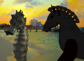 a dull seahorse. a .5 foot tall dull horse is  right of the seahorse. it faces the seahorse. camera light is black. a sea mist blue light is .2 foot right of and -.1 foot behind and -.2 foot above the seahorse. ocean backdrop. sky is 5000 foot wide water.