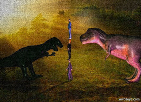 the first dinosaur is two feet behind a man. the 2nd man is on the man. the third man is on the 2nd man.  the dinosaur is 35 feet long.  a dinosaur is 5 feet in front of the first dinosaur. it is facing north.  the magenta light is 10 feet right of the first dinosaur.