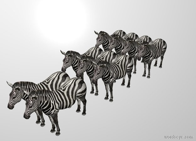 Input text: There are 2 zebras. 3 zebras are north of them. 4 zebras are north of them. THE WHITE BACKDROP.