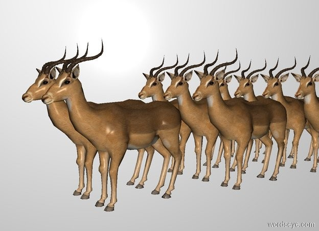 Input text: There are 2 impalas. 3 impalas are north of them. 4 impalas are north of them. THE WHITE BACKDROP.