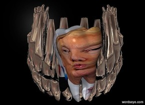a 170 inch tall  silver compound object.sun is gray.a black backdrop.a 90 inch tall molar is -90 inch above the compound object.the molar is 100 inch wide [trump].the molar is in front of the compound object.the molar is facing southwest.the molar is -140 inch right of the compound object.
