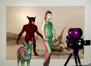 The girl is a foot right of the coyote.  the  monster is four feet behind the girl.  the 4 foot tall movie camera is 2 feet in front of the girl.  the cyan light is above the camera. the magenta light is left of the coyote. it is above the coyote.   the river backdrop.  shadow plane