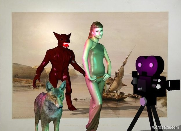 Input text: The girl is a foot right of the coyote.  the  monster is four feet behind the girl.  the 4 foot tall movie camera is 2 feet in front of the girl.  the cyan light is above the camera. the magenta light is left of the coyote. it is above the coyote.   the river backdrop.  shadow plane