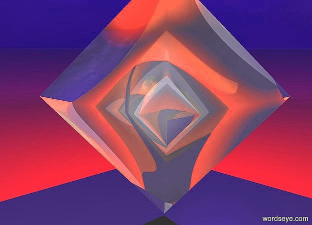 Input text: a shiny octahedron.sun is  blue.a super red light is -2 inch above the octahedron.camera light is gray.