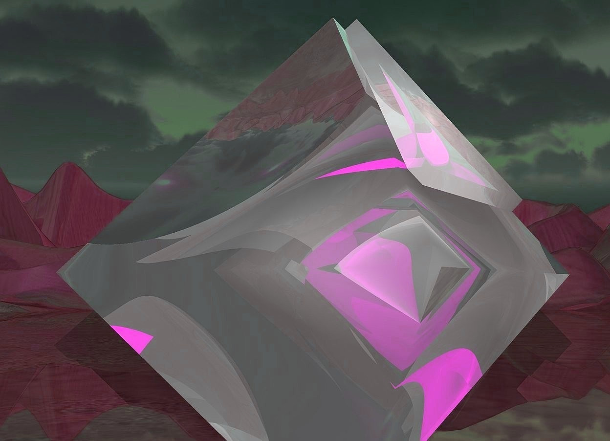 Input text: a 1st 100 inch tall shiny octahedron.sun is  petrol blue.a super red light is  -11 inch above the 1st octahedron.camera light is gray.a 2nd shiny 70 inch tall octahedron is -70 inch above the 1st octahedron.the 2nd octahedron is facing north.the 2nd octahedron is -90 inch in front of the 1st octahedron.ground is shiny.ground is 80 feet tall.