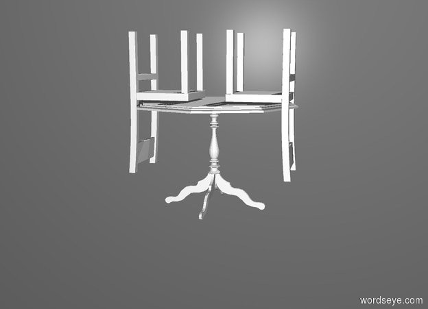Input text: a table. a 1st 2.5 foot tall white upside down chair faces the table. it is -1.2 foot in front of the table. it is -1.3 foot above the table.  a 2nd 2.5 foot tall white upside down chair faces the table. it is -1.2 foot behind and -1.3 foot above the table. gray backdrop.