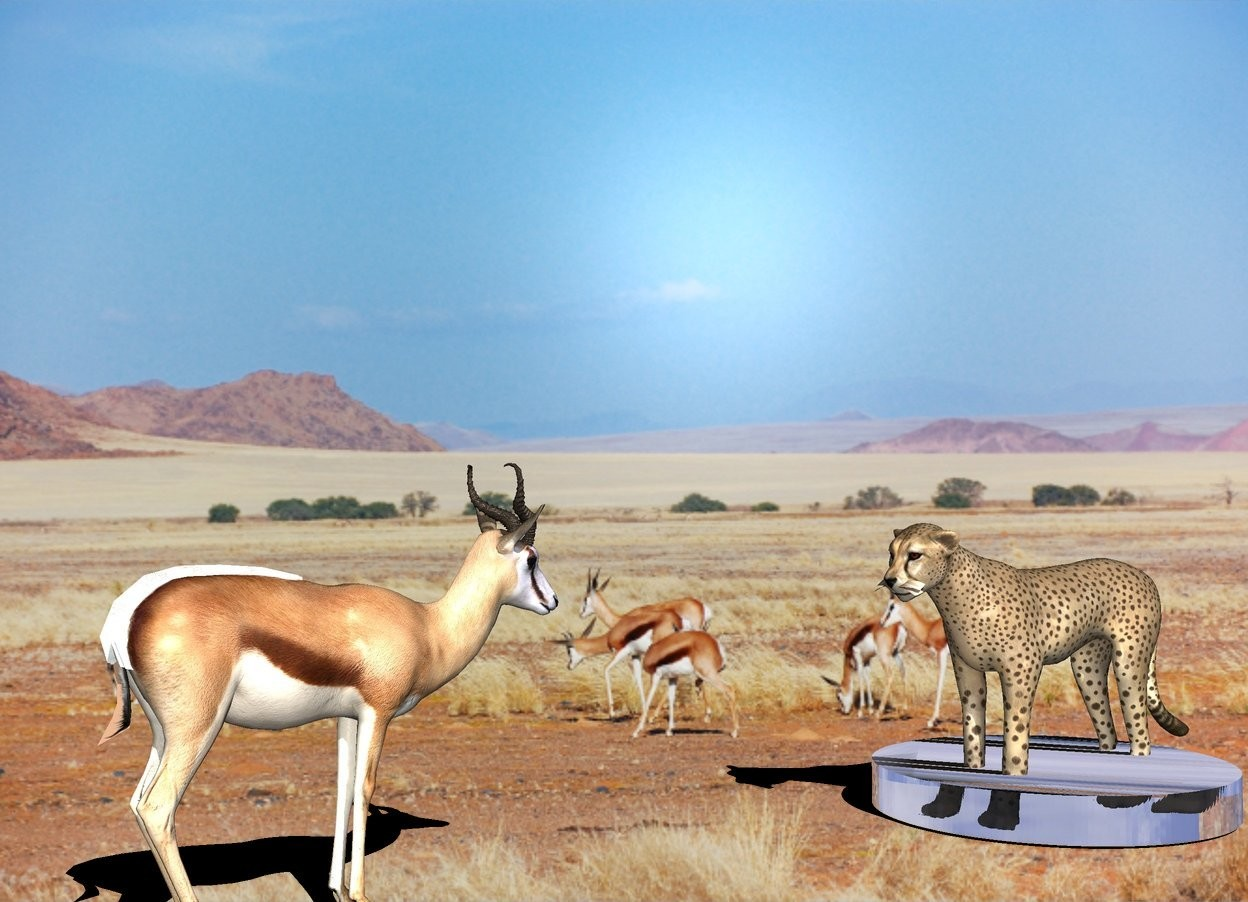 Input text: the gazelle.  the 100% dark shadow plane.    The cheetah is 4 feet in front of the gazelle.  the 6 inch tall glass cylinder is -4.5 feet in front of the cheetah. it is 4 feet wide. the cheetah is facing north.