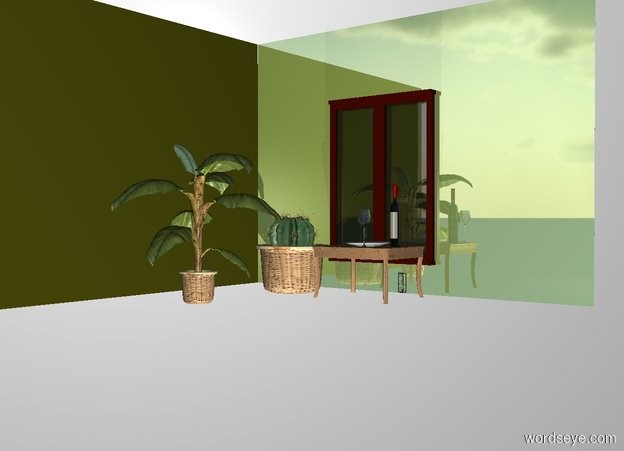 Input text: a 1st shiny  hazel   900 inch wide and 650 inch tall flat wall.a 2nd 900 inch wide and 650 inch tall cactus green flat wall is left of the 1st wall.the 2nd wall is in front of the 1st wall.the 2nd wall is facing right.a 400 inch tall window is  in front of the 1st wall.the window pane of the window is clear.a 250 inch tall and 200 inch wide and 200 inch deep table is 50 inch in front  of the 1st wall.the window is -580 inch above the 1st wall.the window is -100 inch left of the 1st window.a 1st 340 inch tall potted plant is 50 inch in front of the 2nd wall.a 2nd 200 inch tall potted plant is 20 inch behind the 1st potted plant. THE WHITE BACKDROP.