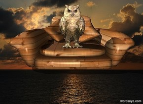 a [sea] backdrop.a 50 inch tall and 100 inch wide and 150 inch deep [wood] armchair.a 35 inch tall gold owl is -33 inch above the armchair.the owl is -55 inch in front of the armchair.