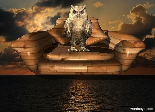 Input text:  a [sea] backdrop.a 50 inch tall and 100 inch wide and 150 inch deep [wood] armchair.a 35 inch tall gold owl is -33 inch above the armchair.the owl is -55 inch in front of the armchair.