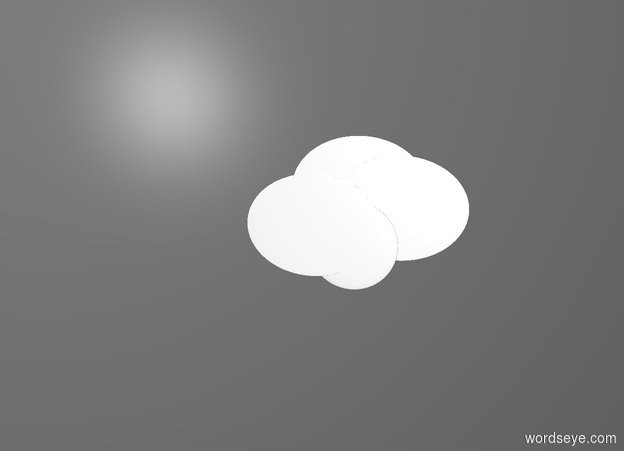 Input text: gray backdrop. a 1st flat white egg. a 2nd flat white egg is -.5 feet left of and -.2 feet above the 1st egg. a 3rd flat white egg is -.2 foot above and -.4 feet right of the 2nd egg. a 1st .2 foot tall flat white sphere is  in front of and -.1 foot beneath the 3rd egg.