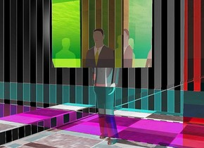 The design  backdrop.  the man.   a magenta glass slab is one foot in front of the man. it is 1 foot above the invisible ground.  a cyan glass slab is 3 inches above it.   the slabs are 30 feet wide and 1 foot tall. they are 1 inch deep.  A very large yellow glass cube is -2 feet above the man.  A maroon glass slab is 1 foot wide and 20 feet tall and 1 inch deep. it is 3 feet right of the man.  A silver slab is 2 feet wide and 200 feet deep. it is 1 inch tall. it is 3 feet left of the man.  the red light is 3 feet in front of the man. the cyan light is 3 feet right of the man.  the man is on the checkerboard floor.