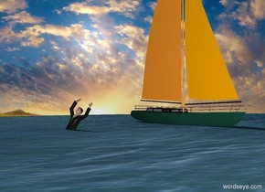 the man 3 feet in the water.  the sailboat is 5 feet in the water. it is 14 feet behind the man. it is facing right. the sky backdrop.