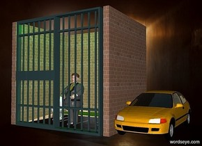 a prison.a car is right of the prison.a man is -5 feet in front of the prison.shadow plane.the prison's cot is olive.a green light is above the prison.