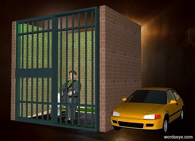 Input text: a prison.a car is right of the prison.a man is -5 feet in front of the prison.shadow plane.the prison's cot is olive.a green light is above the prison.