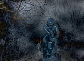 a [wb] backdrop.a 100 inch tall  	 	 	petrol blue statue.the statue is 30% reflective.a 50 inch tall 30% dim petrol blue dog is -5 inch left of the statue.the dog is 30% reflective.