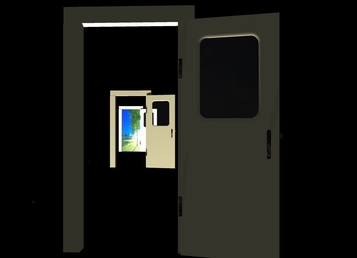 Input text: a 1st door. a 2nd 20% dark ivory door is 8 feet behind and -2 feet left of the door. a 3rd door is 8 feet behind and -2 feet left of the 2nd door. a 1st  7 foot tall and 3.5 foot wide flat [abstract] wall is behind and -3.5 foot left of the 3rd door. a black backdrop. camera light is black. sun is black. a blue light is 2 feet in front of the 3rd door.