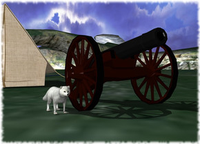 A fox is next to a cannon.  A tent is 8 feet behind the fox.