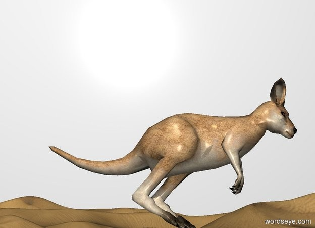 Input text: THE WHITE BACKDROP. A kangaroo leans 30 degrees to the front.