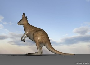 A jumping kangaroo is on the ground.
