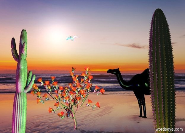 Input text: The  [night]  backdrop.  the shadow plane.  a second cactus is 9 feet left of the first cactus. the large third cactus is -2 feet right of the second cactus.  it is behind the first cactus.  a black camel is 16 feet behind the second cactus. it is facing southwest. the seagull is 2 feet above the third cactus.  the orange light is in front of the first cactus. the cyan light is left of the cactus. a red light is two feet in front of the second cactus. a blue light is right of the red light. the camera light is black.