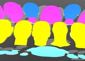 ten  tall flat red heads.nine 40 inch tall blue flat heads are    in front of the red heads.the red heads lean 40 degrees to back.the blue heads lean 80 degrees to the front.eight 40 inch tall flat green heads are in front of the blue heads.sky is gray.ground is gray.azimuth of the sun is 20 degrees.a shadow plane.