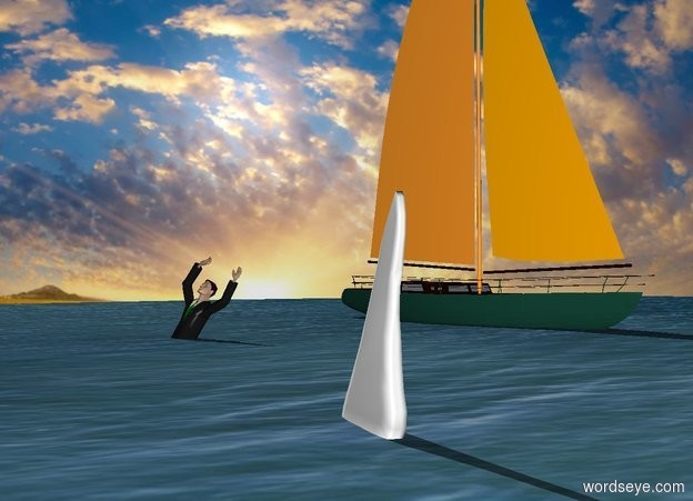 Input text: the man 3 feet in the water.  the sailboat is 5 feet in the water. it is 14 feet behind the man. it is facing right. the sky backdrop.  a big white shark is 2 feet in front of and 10 feet right of the man. it faces the man.