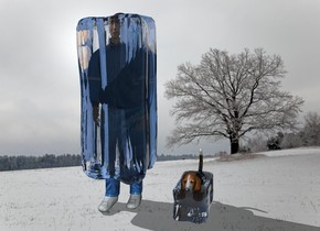 The [winter] backdrop. The man is 1 foot to the left of a dog. the clear white ice cube is 5 feet in the man. It is 5 feet tall and 2 feet wide. It is 2 feet deep. a second clear white ice cube is 1 foot in the dog. It is 1 foot tall and 1 foot wide. It is 2 feet deep.