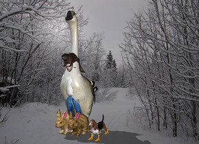 The [snolane] backdrop. shadow plane.The man is 1 foot to the left of a dog. he leans 10 feet to the front. the  goose is 6 feet in and -2.1 feet behind the man. It is 10 feet tall and 3 feet wide and 4 feet deep. It is 2 feet deep. a 1.3 feet tall beaver is -1.2 feet above and -3.7 feet in front of the man. it leans 13 degrees to the back. 1st 2 feet tall hair rabbit is -1 feet left of the man. 2nd 2 feet tall hair rabbit is -1 feet right of the man. 1st small orange boot is -.7 feet in front of and -.1 feet right of the dog. 2nd small orange boot is -.74 feet in front of and -.35 feet left of the dog. 3rd small orange boot is -.2 feet right of and -.44 feet behind the dog. 4th small orange boot is -.3 feet left of and -.44 feet behind the dog, the shirt of the man is white.