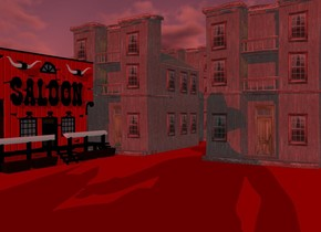 a red  town.sun is maroon.ground is red.a 100 inch tall saloon is -5 inch in front of the town.the saloon is facing east.the facade of the saloon is red.ground is 200 feet tall.a 300 inch tall man is 600 inch in front of the town.the man is -100 inch right of the town.azimuth of the sun is -200 degrees.altitude of the sun is 25 degrees.camera light is black.ambient light is gray.a 260 inch tall dog is -40 inch left of the man.the dog is facing south.