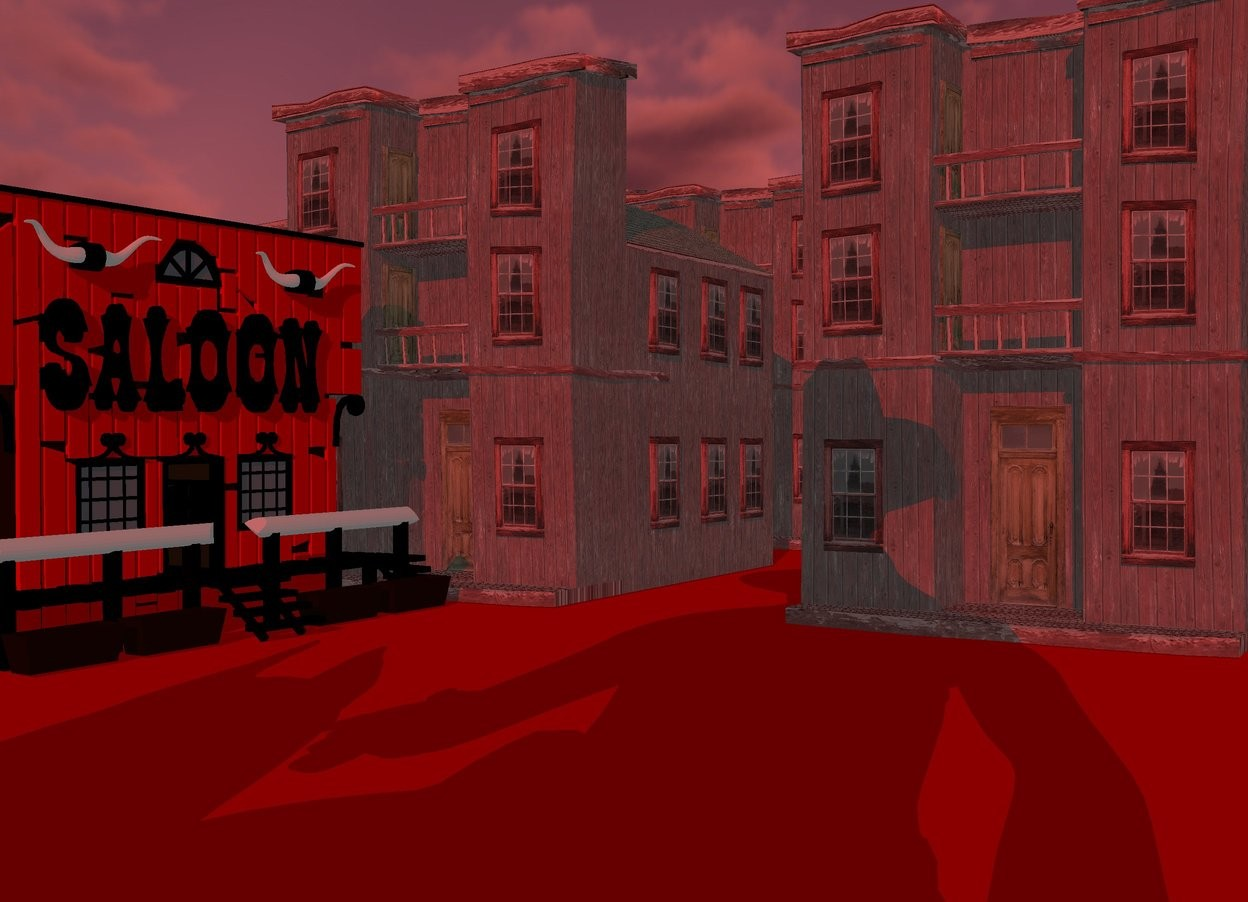 Input text: a red  town.sun is maroon.ground is red.a 100 inch tall saloon is -5 inch in front of the town.the saloon is facing east.the facade of the saloon is red.ground is 200 feet tall.a 300 inch tall man is 600 inch in front of the town.the man is -100 inch right of the town.azimuth of the sun is -200 degrees.altitude of the sun is 25 degrees.camera light is black.ambient light is gray.a 260 inch tall dog is -40 inch left of the man.the dog is facing south.