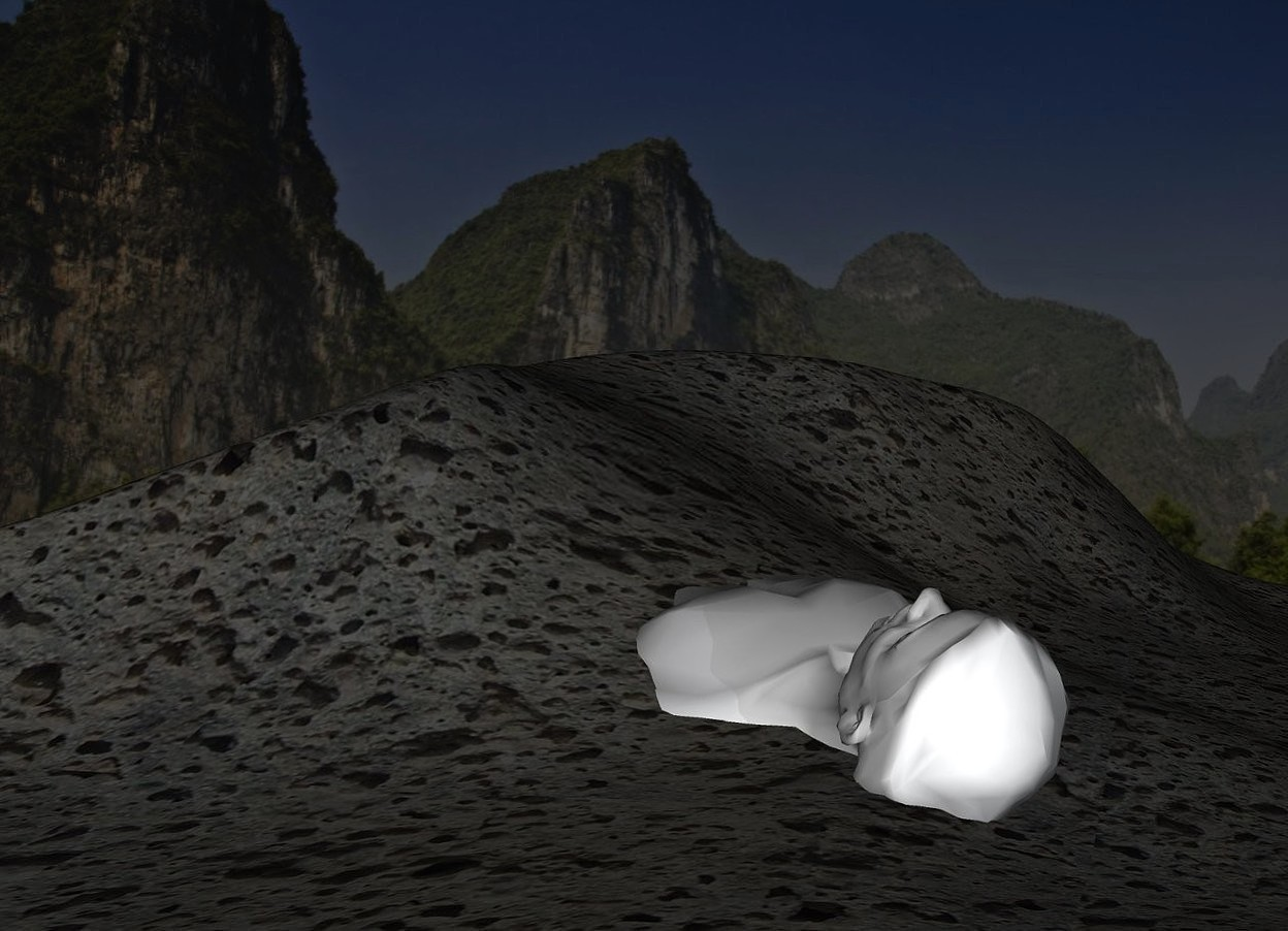Input text: a 2 feet tall [rock] sand dune.a man is -12 feet right of the sand dune.he is face up.the man is facing north.mountain backdrop.the man's hair is white.the man is gainsboro.a dark blue-gray light is 2 feet in front of the man.the sun's altitude is 90 degrees.the sun is black.the sand dune is 50% dark.