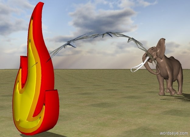 Input text: 1st 5 foot tall stream is -2.1 feet in front of elephant. It is -5.5 feet above and -5.4 feet left of elephant. A 10 foot tall fire is 24 feet in front of the elephant. The ground is grass.