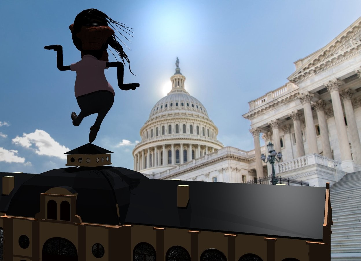 Input text: the [washington] backdrop. A large 60% black man is above a building. He is facing back. Camera light is black. The azimuth of the sun is 330 degrees. The altitude of the sun is 60 degrees. The sun is silver. A light is behind and 120 feet above the building. the very huge black jellyfish is -6 foot above and -7.5 feet to the right of the man. it is leaning 70 degrees to the right.