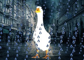 The image backdrop.a duck.a 1st rain is in front of the duck.a 2nd rain is -2 inches above the duck.a 3rd rain is behind the duck.shadow plane.a sea mist blue light is 2 feet in front of the duck.