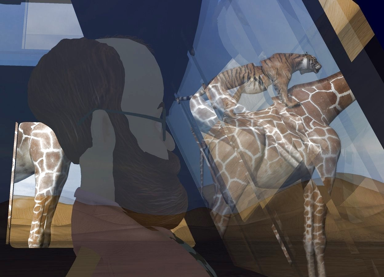 Input text: A very tiny man is -17 inch above and -10 inch in front of a tiny dark blue truck. A tiny giraffe is 4 feet right of and in front of the truck. A tiny tiger is -2 feet above and -4 feet in front of the giraffe. It is leaning 20 degrees to the back. A tiny giraffe is behind the giraffe. A light is above the truck.
