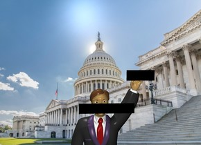 the [washington] backdrop. A large man. The azimuth of the sun is 330 degrees. The altitude of the sun is 60 degrees. The sun is silver.  The black paper is -2.9  foot above and in front of the man. It is 4 feet wide. It is 9 inches tall. a second black paper is -6 inches above and -16 inches to the right of the man. it is in front of the man. It is 9 inches tall and 2 feet wide.